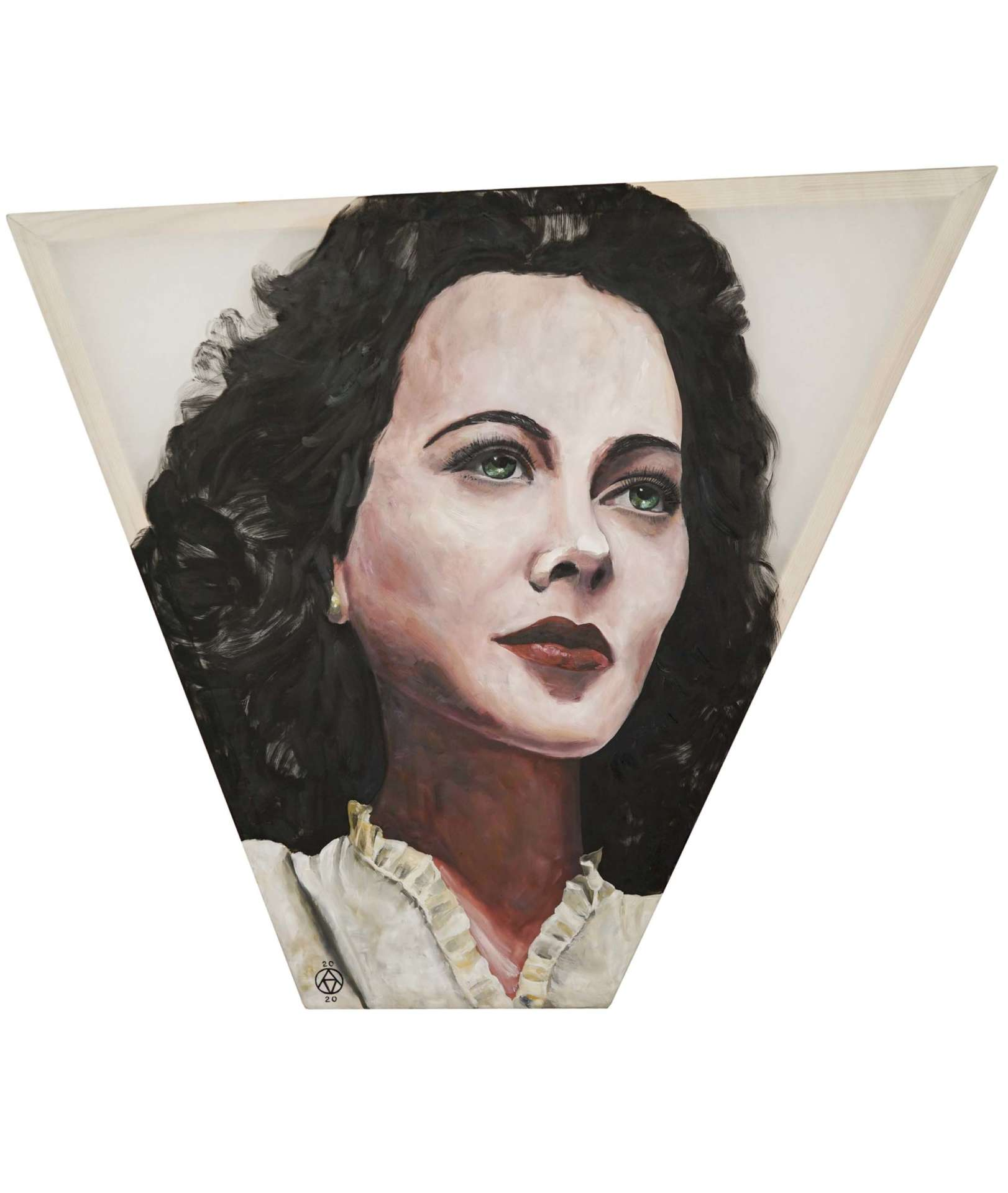 Hedy Lamarr portrait in oil on silk on a canvas with uneven angles of the frame
