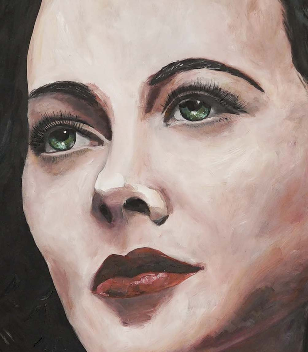 Hedy Lamarr portrait in oil on silk on a canvas close up