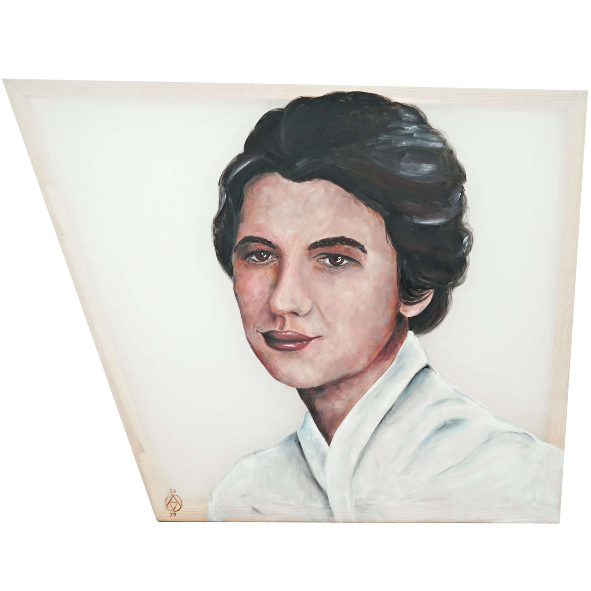 Rosalind Franklin portrait in oil on silk by Anya Vero