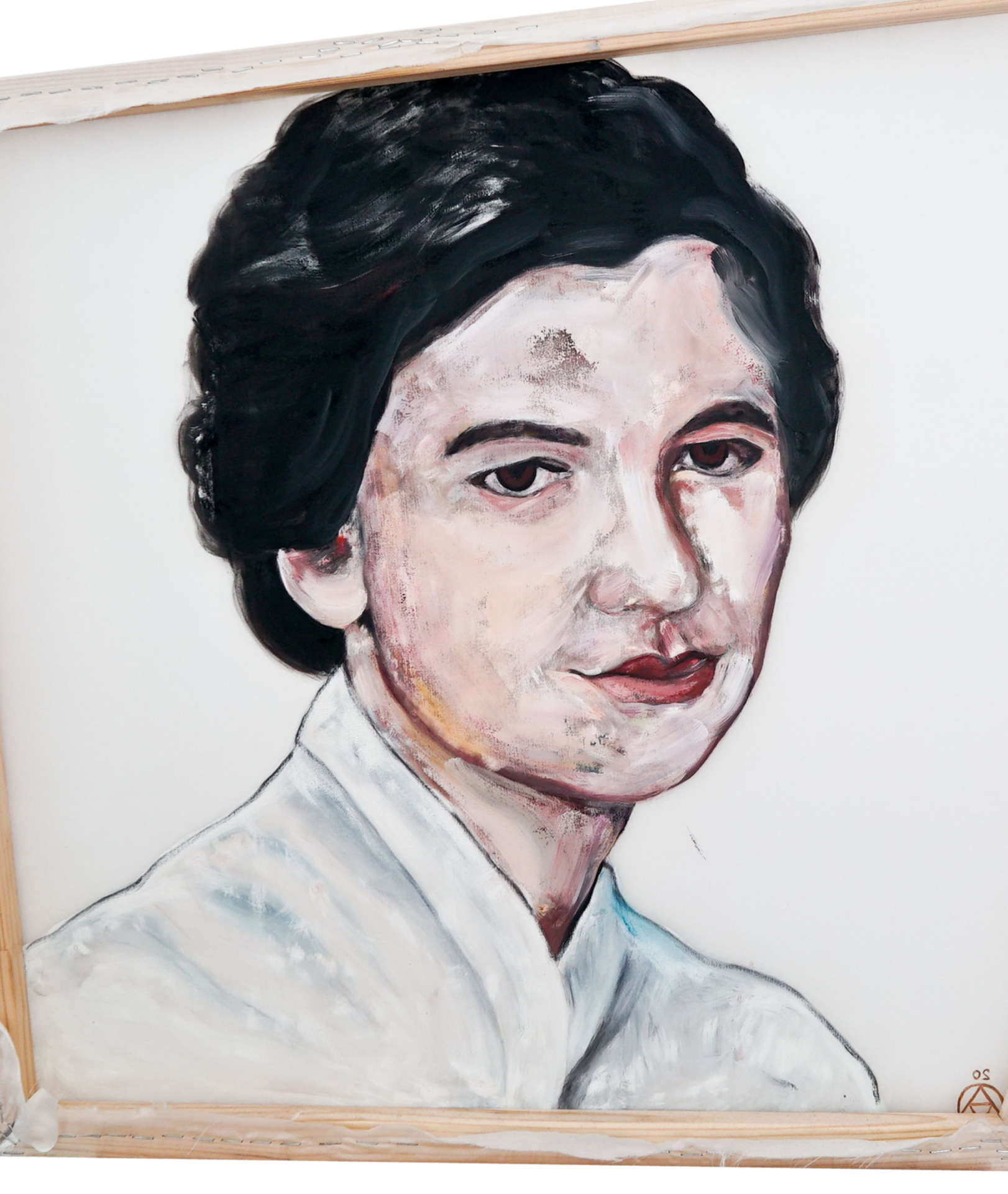Rosalind Franklin portrait back of the painting in oil on silk by Anya Vero