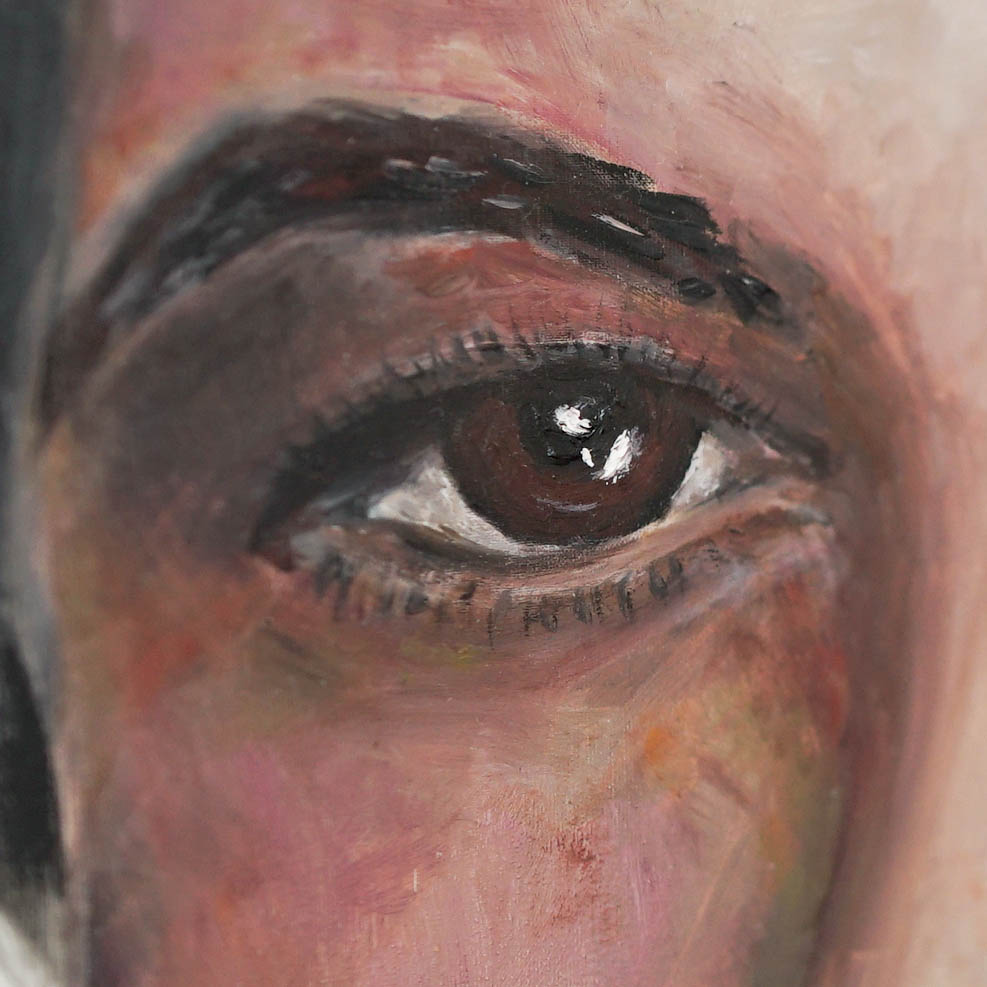 Rosalind Franklin portrait close up tot he eyein oil on silk by Anya Vero