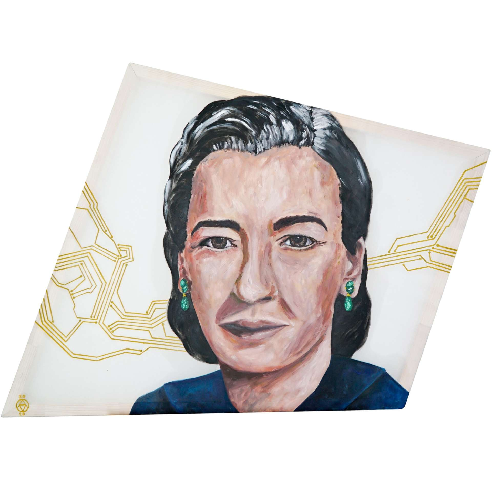 Dr Grace Murray Hopper painting portrait by Anya Vero in oil on silk