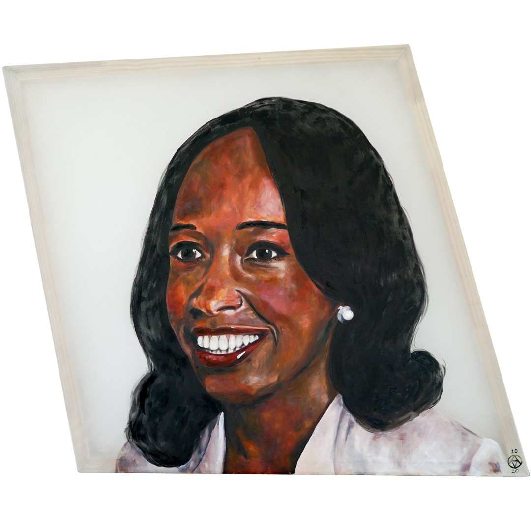 Dr Patricia Bath painting portrait by Anya Vero in oil on silk