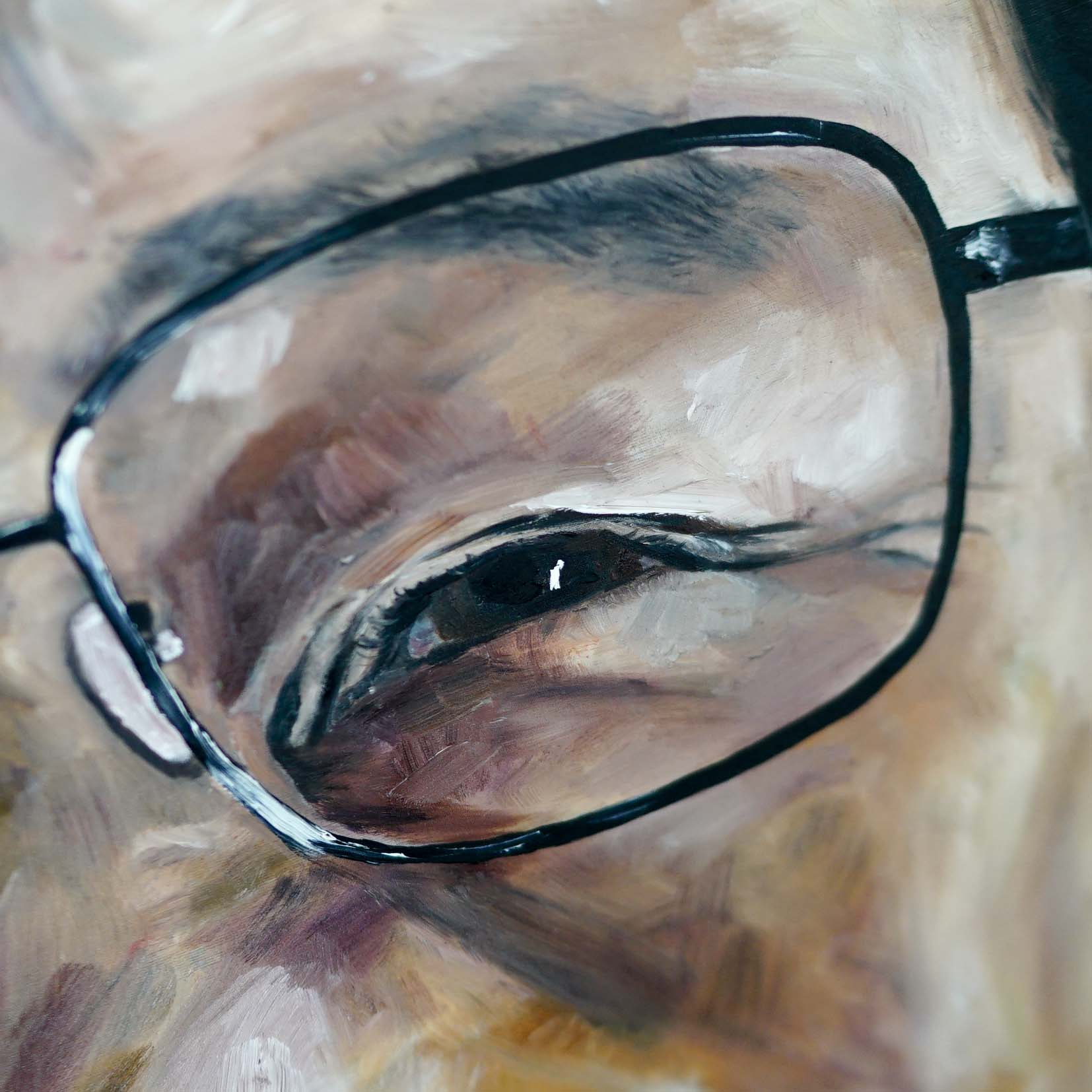 Tu Youoyou portrait by Anya Vero Oil on silk close up